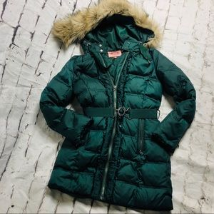 juicy couture green puffer trench coat